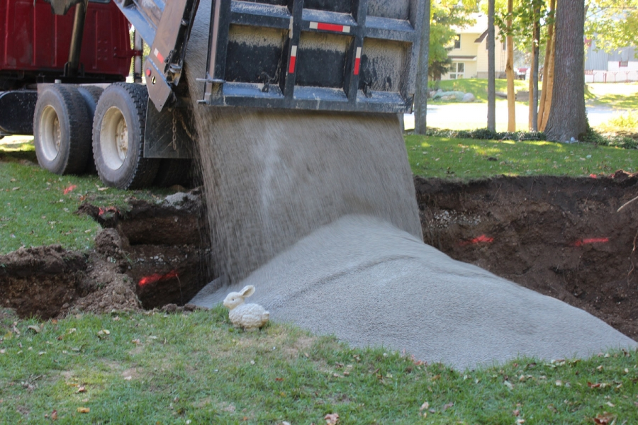 Aggregate delivery for Ecoflow septic system